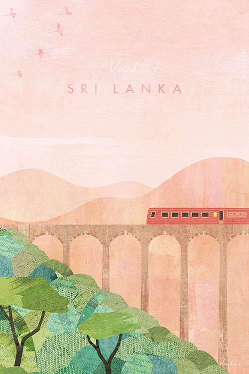 Sri Lanka, Ella Travel Poster - Minimalist Vintage Travel Poster Art Print by artist Henry Rivers. Red train on Nine Arch Bridge over the jungle landscape.