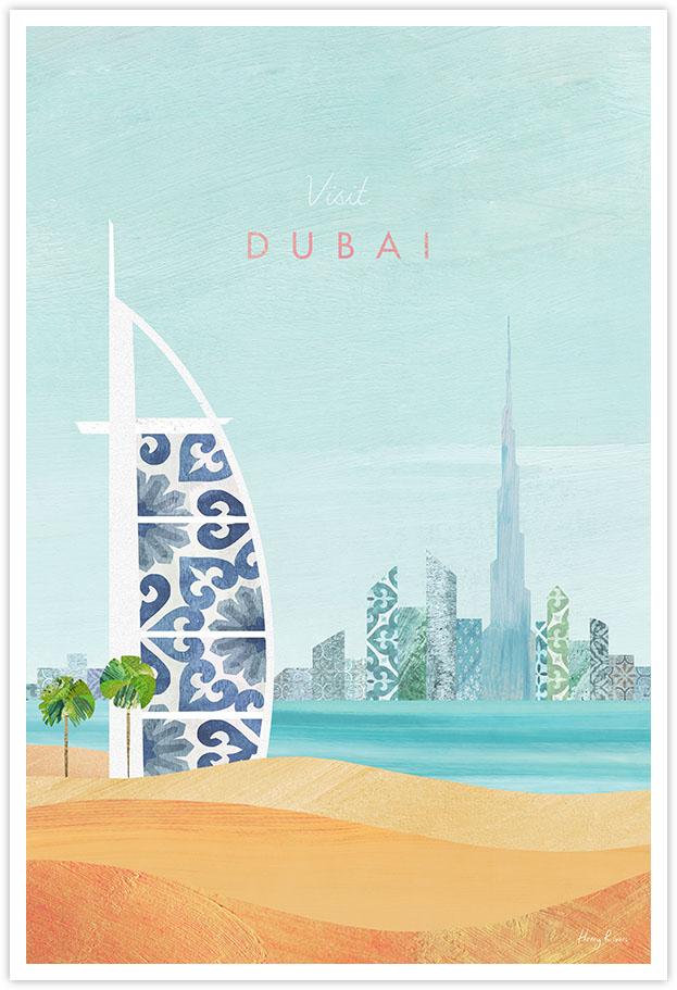 Dubai Travel Poster - Art Print by Henry Rivers / Travel Poster Co. - Visit Cuba poster art by Henry Rivers. Burj Al Arab UAE artwork with desert dunes and Dubai skyline.