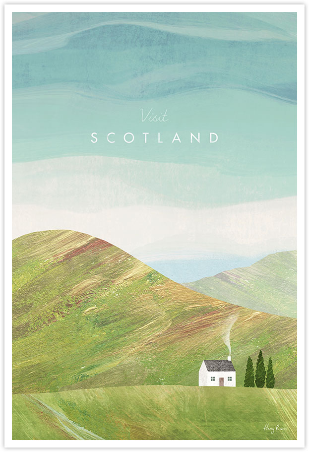 Scotland Travel Poster - Art Print by Henry Rivers / Travel Poster Co. - Visit Scotand poster art by Henry Rivers. Remote cabin in the Highlands artwork.
