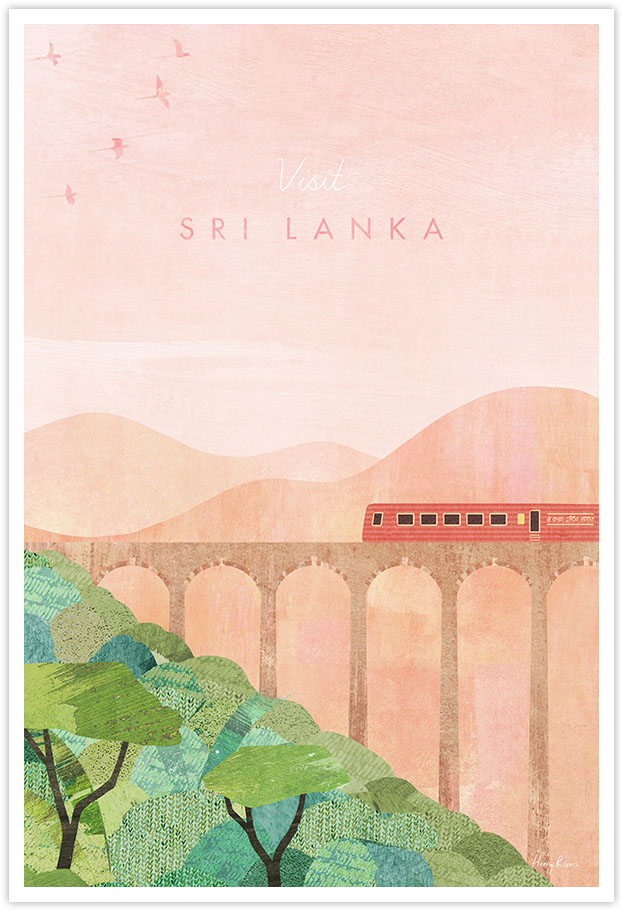 Sri Lanka Travel Poster - Art Print by Henry Rivers / Travel Poster Co. - Visit Sri Lanka poster art by Henry Rivers. Train on Nine Arch Bridge in Ella, Sri Lanka.