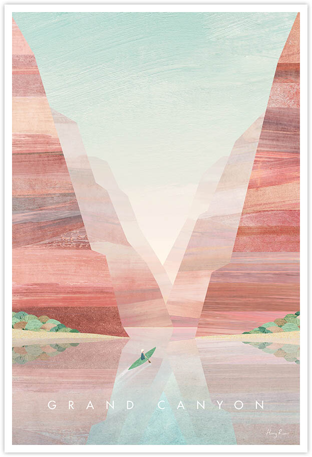 Grand Canyon Travel Poster - Art Print by Henry Rivers / Travel Poster Co. - Visit Grand Canyon poster art by Henry Rivers. Artwork of a figure canoeing down the Colorado River at the bottom of the world famous red rock canyon.