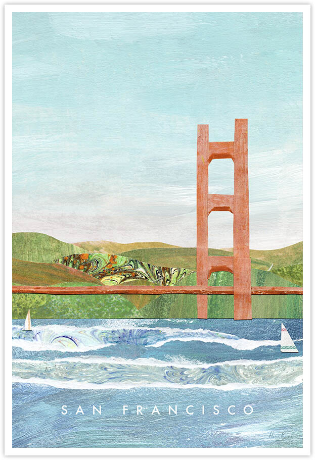 San Francisco, Golden Gate Bridge Travel Poster - Art Print by Henry Rivers / Travel Poster Co. - Visit San Francisco poster art by Henry Rivers. A torn paper collage of the choppy waters of San Francisco bay area with psychedelic patterned hills in the distant.