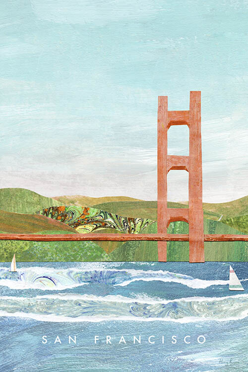 San Francisco, California Travel Poster - Minimalist Vintage Travel Poster Art Print by artist Henry Rivers. The Golden Gate Bridge over the rough waters of San Francisco Bay with green hills in the background.