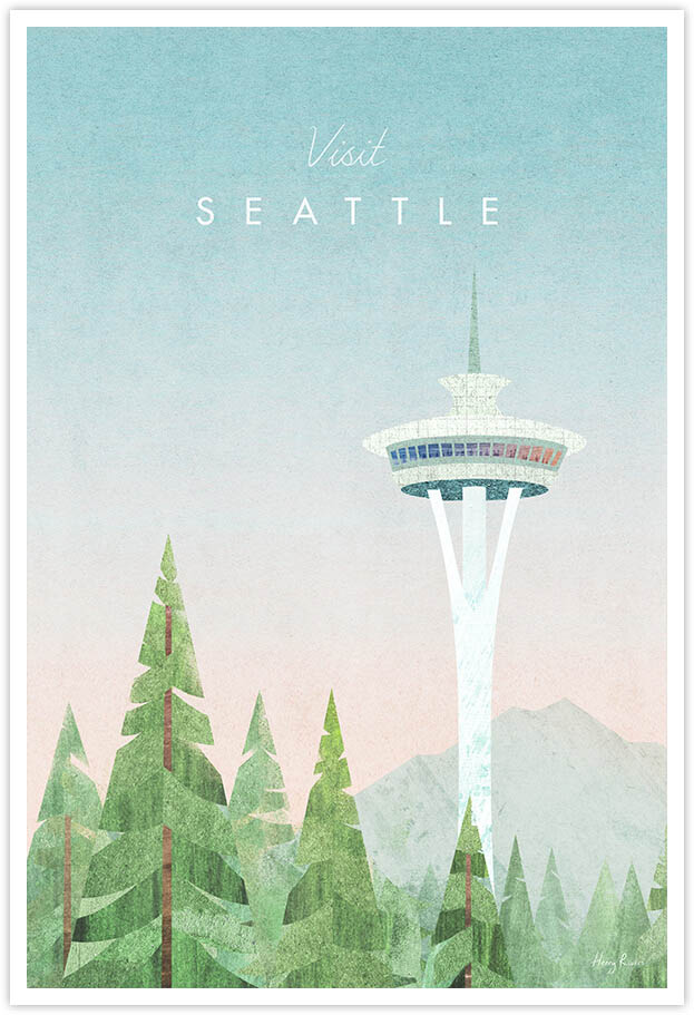 Seattle Travel Poster - Art Print by Henry Rivers / Travel Poster Co. - Visit Seattle poster art by Henry Rivers. Digital illustration of the Seattle space needle viewed from a forest trek.