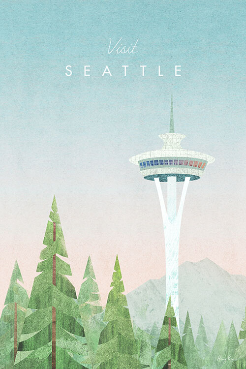 Seattle, Washington State Travel Poster - Minimalist Vintage Travel Poster Art Print by artist Henry Rivers. An illustration of the Space Needle observation tower in Seattle with green trees in the foreground.
