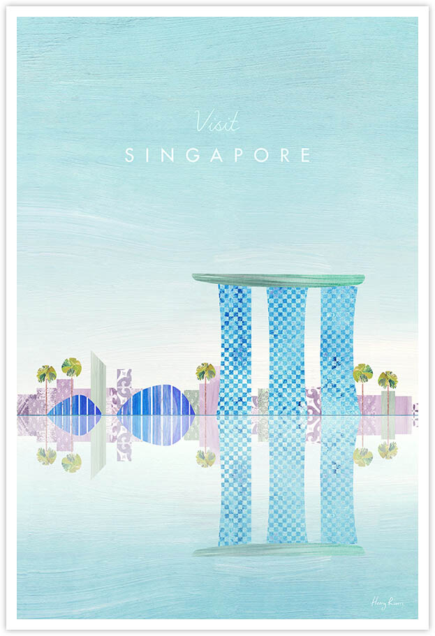 Singapore Travel Poster - Art Print by Henry Rivers / Travel Poster Co. - Visit Singapore poster art by Henry Rivers. A digital collage of the Asian city's skyline in a digital collage style.