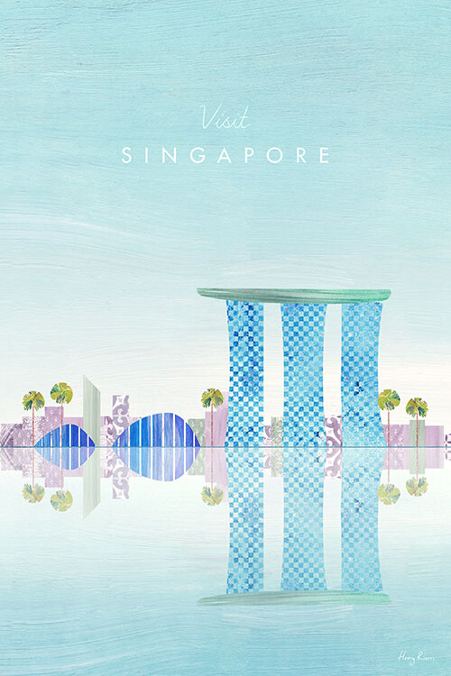 Singapore Travel Poster - Minimalist Vintage Travel Poster Art Print by artist Henry Rivers. An illustration of the Marina Bay Sands hotel on the luxury resort marina of Singapore.