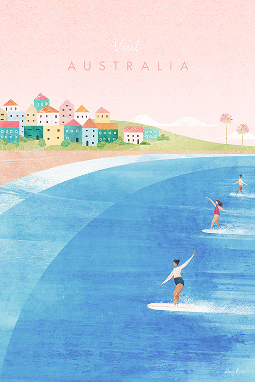 Bondi Beach, Australia Travel Poster - Collage style Vintage Travel Poster Art Print by artist Henry Rivers. An illustration of three surfer girls surfing the waves of Bondi. Cute colourful houses in the background and a warm sunset sky.