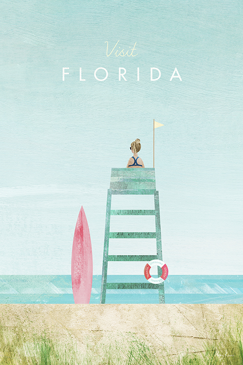 Florida Travel Poster - Minimalist Vintage Travel Poster Art Print by artist Henry Rivers. An illustration of a lifeguard on a wild sandy beach in Florida. The lifeguard sits on a blue tower her surfboard below ready for a break.