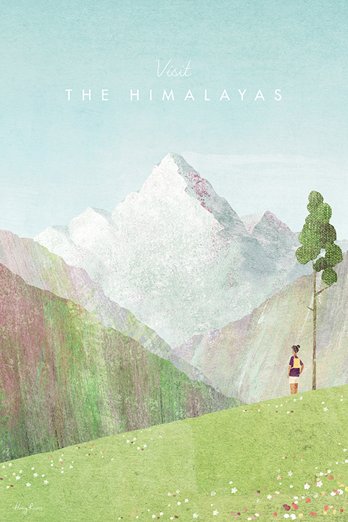 Himalayas Travel Poster - Minimalist Vintage Travel Poster Art Print by artist Henry Rivers. An illustration of the Himalaya mountain range with a hiker looking over a view of epic valleys, meadows and Mount Everest in the far distance.