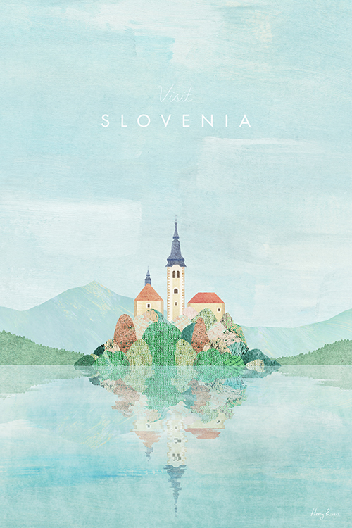 Slovenia Travel Poster - Minimalist Vintage Travel Poster Art Print by artist Henry Rivers. An illustration of Lake Bled in Slovenia created in a colourful collage style.