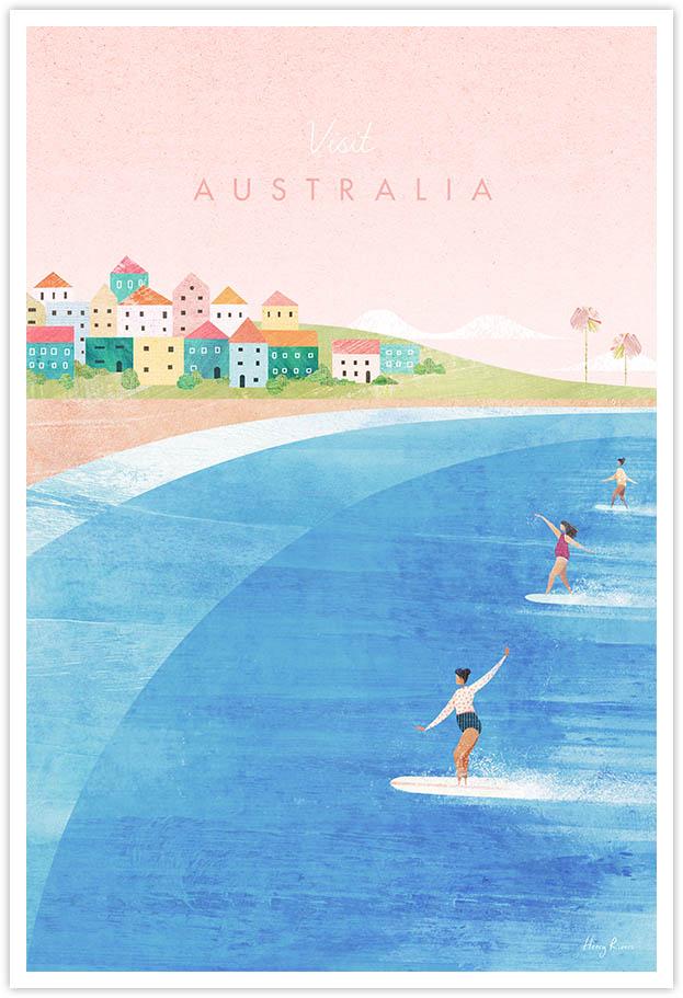 Bondi Beach, Australia Surf Travel Poster - Art Print by Henry Rivers / Travel Poster Co. - Visit Australia poster art by Henry Rivers. View of three surfer girls riding waves on sunny Bondi Beach.