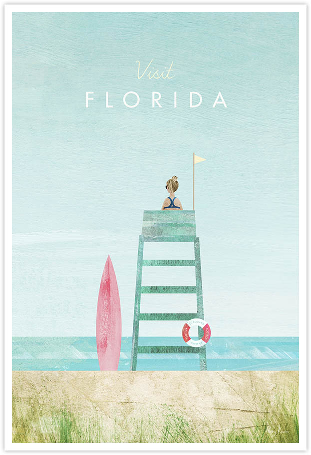 Florida Travel Poster - Art Print by Henry Rivers / Travel Poster Co. - Visit Florida poster art by Henry Rivers. An iconic lifeguard tower on a sandy beach in Florida. Sandy dunes and surfboard in the foreground.