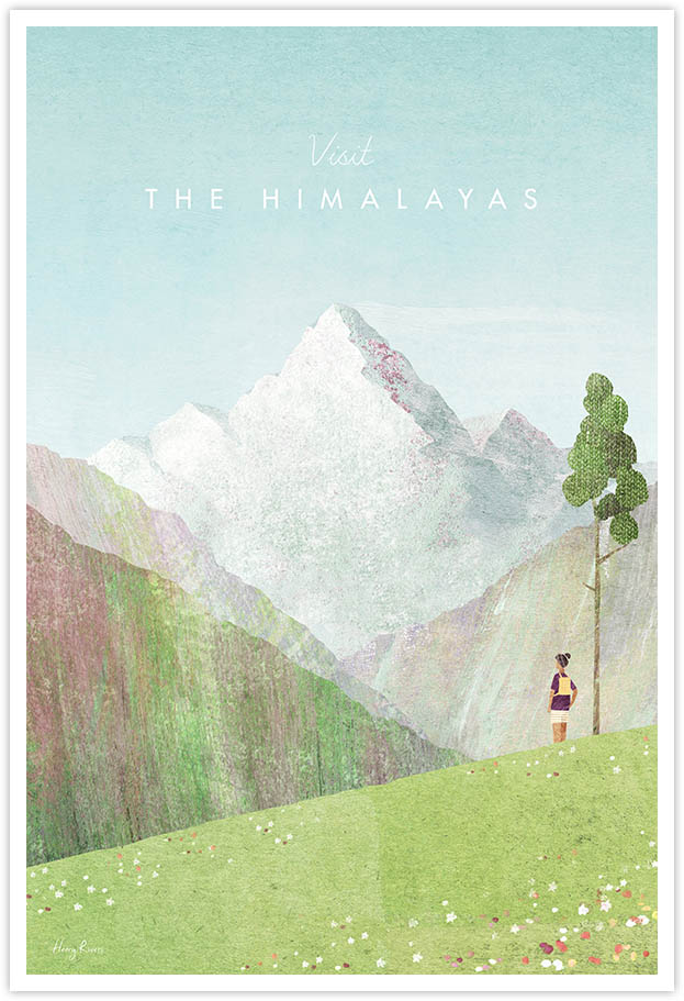 Himalayas Travel Poster - Art Print by Henry Rivers / Travel Poster Co. - Visit the Himalayas poster art by Henry Rivers. View of Mount Everest through a Himalayan, Nepal mountain valley.