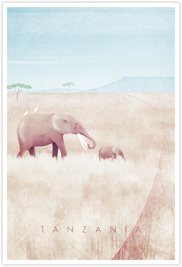 Tanzania African Safari Travel Poster - Art Print by Henry Rivers / Travel Poster Co. - Visit Tanzania poster art by Henry Rivers. Elephants roaming over the African Savannah with Mount Kilimanjaro in the background.